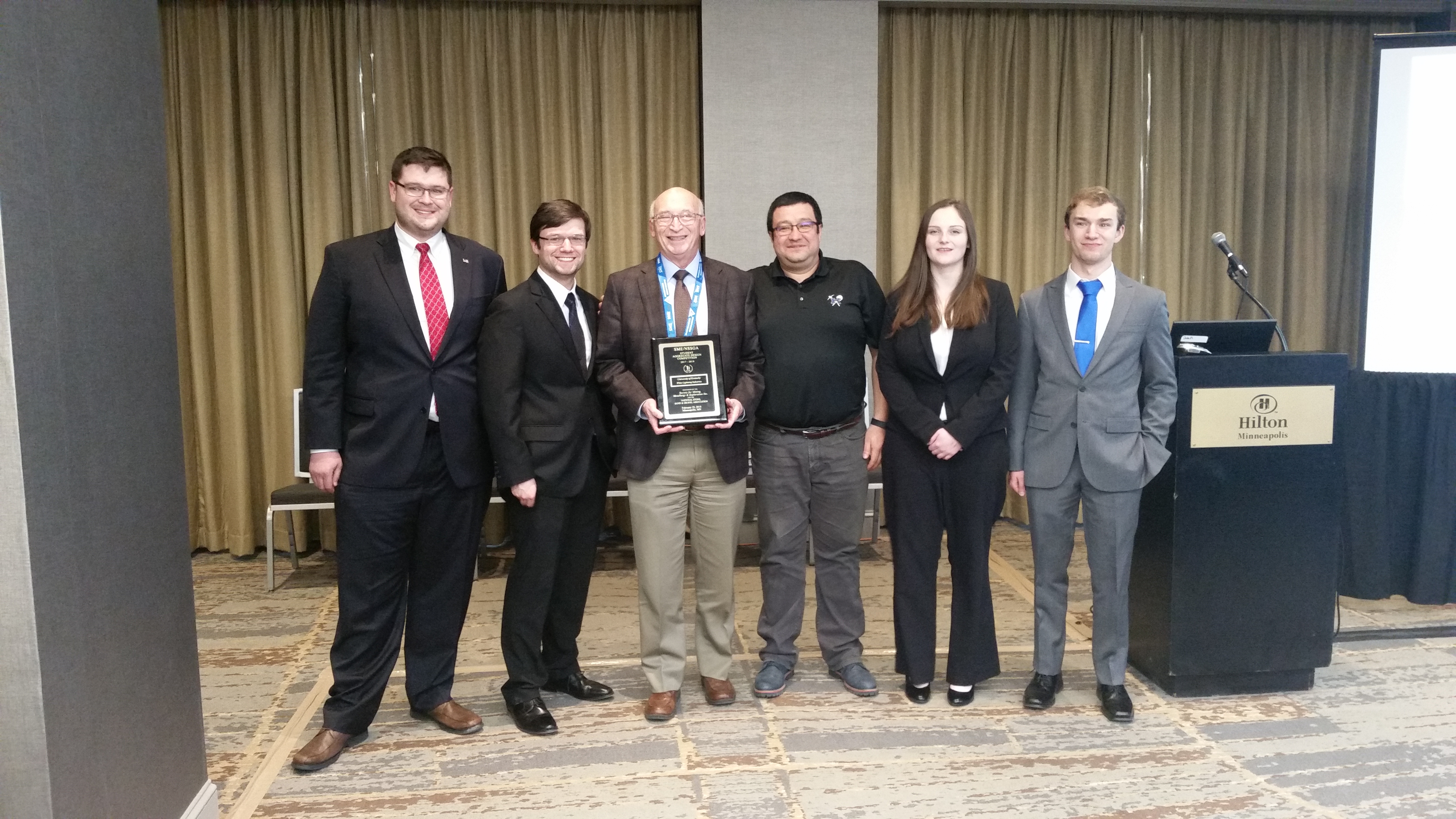 From left to right: George Thompson, Chandler Absher, Dr. Tom Novak, Dr. Jhon Silva, Hannah Parker, Trevor Rosania