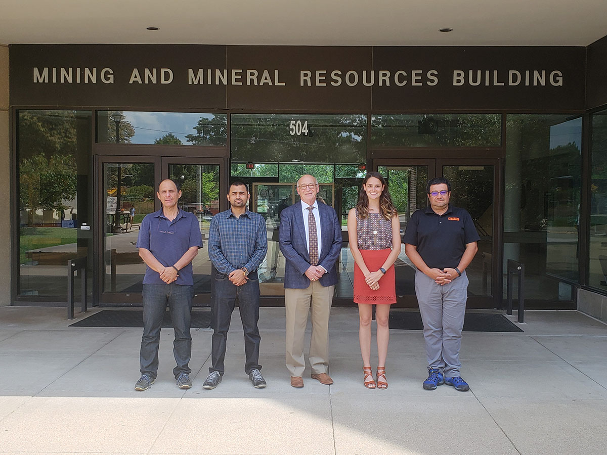 Pictured, from left to right: Director of Graduate Studies Zach Agioutantis, Ravi Ray, Department of Mining Engineering Chair Tom Novak, Brookynn Yonts, Assistant Professor Jhon Silva