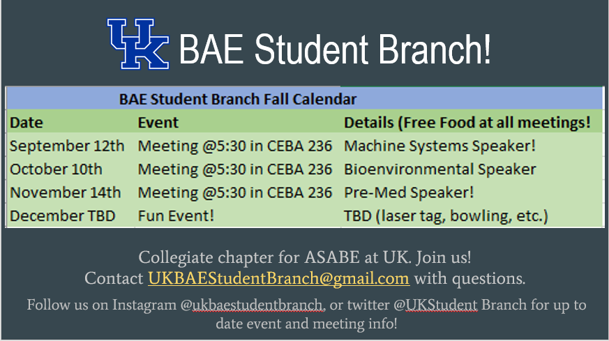 BAE Student Branch meeting dates Spring 2018