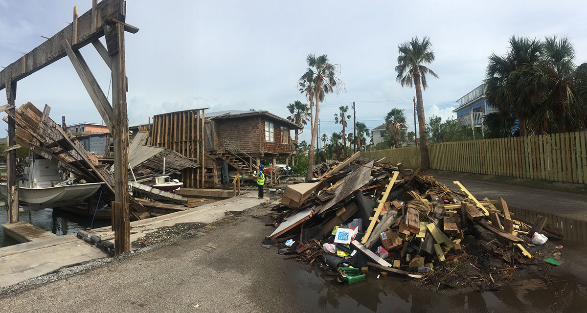 Hurricane Michael aftermath at Mexico Beach, Florida.