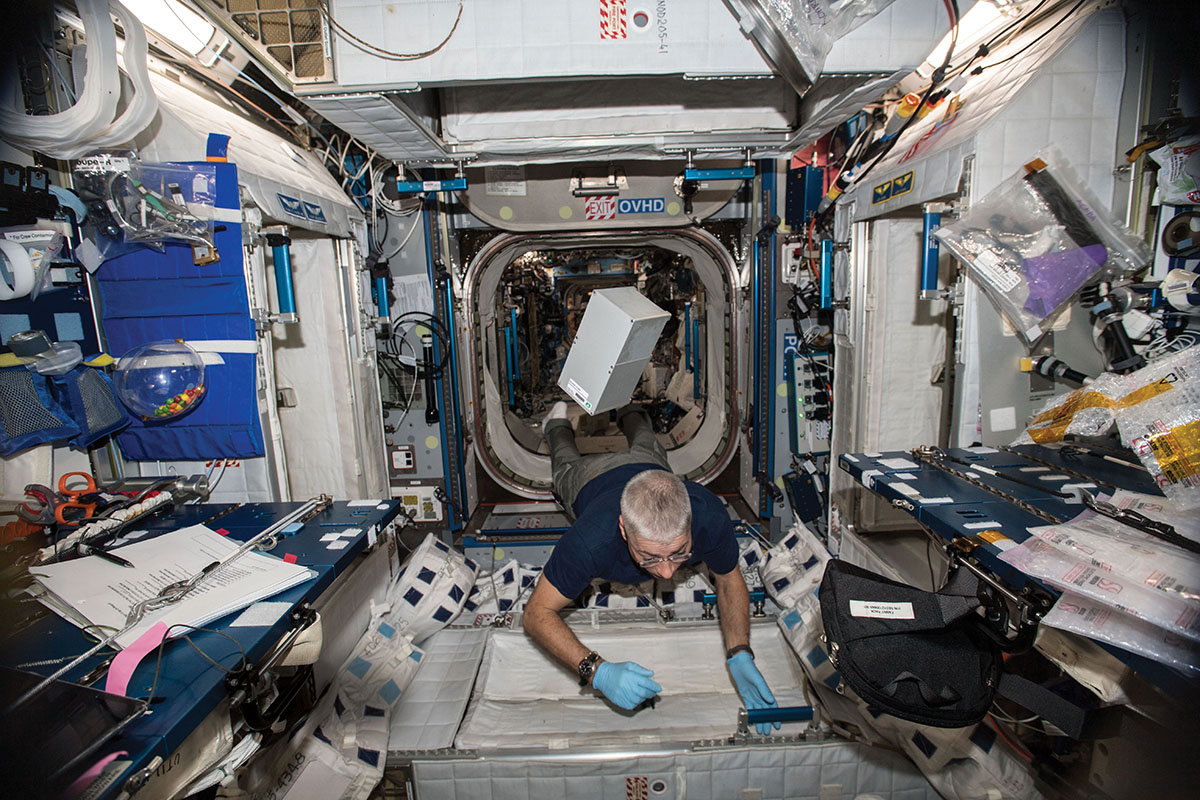 After being unpacked from the SpaceX Dragon, a Space Tango CubeLab floats in the International Space Station, awaiting installation in the TangoLab (photo courtesy of NASA).