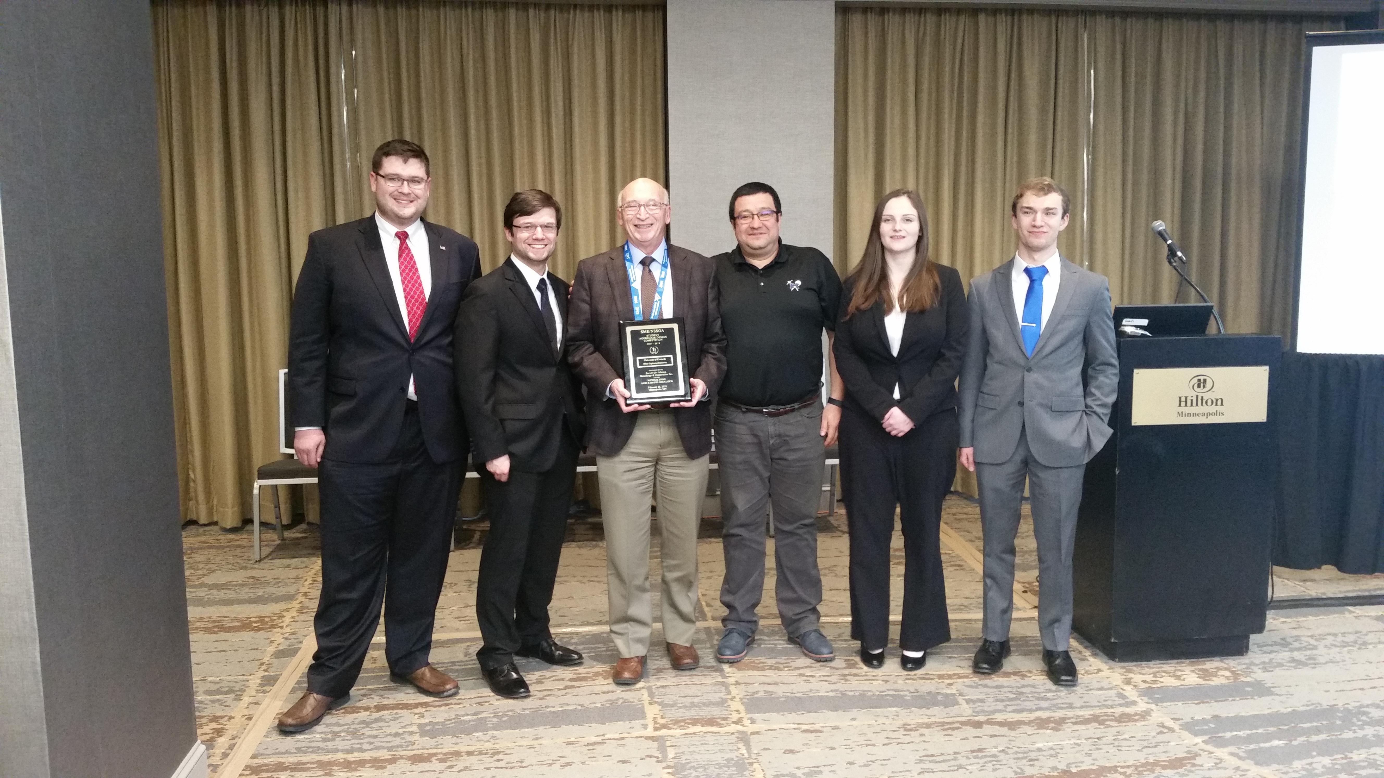 From left to right: George Thompson, Chandler Absher, Dr. Tom Novak, Dr. Jhon Silva, Hannah Parker, Trevor Rosania
